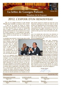 Page de couverture de la lettre d'information de février 2013