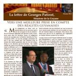 Couverture de la lettre de Georges Patient - Février 2014