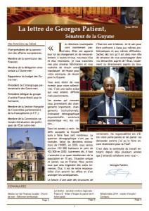 Couverture de la lettre de Georges Patient - juin 2014