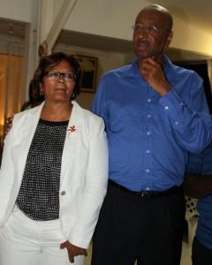 Georges Patient et Marie-Laure Phinera-Horth au soir de l'élection sénatoriale de 2014