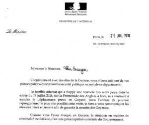 Scan de la lettre de Bernard Cazeneuve du 26 juillet 2016