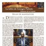 Couverture de la lettre de Georges Patient - juillet 2014